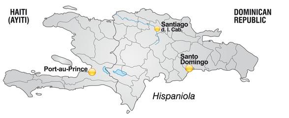 karte von Haiti und Dom. Rep. mit Landesgrenzen