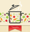 pan with vegetable, food background vector illustration EPS10.