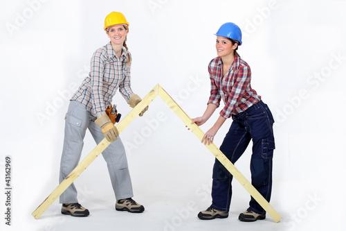 Tradeswomen building a frame