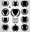 set - shield and laurel wreath