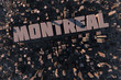 Stadt in 3D mit Schriftzug Montreal als Luftansicht