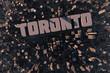 Stadt in 3D mit Schriftzug Toronto als Luftansicht