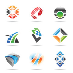 Various colorful abstract icons, Set 8