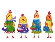 Hens. Cartoon characters