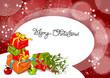 Weihnachten, Karte mit Geschenken und Mistelzweig