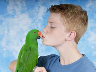 Küsschen für den Papagei
