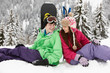 Two Teenagers On Ski Holiday In Mountains