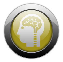 "Yellow Metallic Orb Button ""Neurology"""