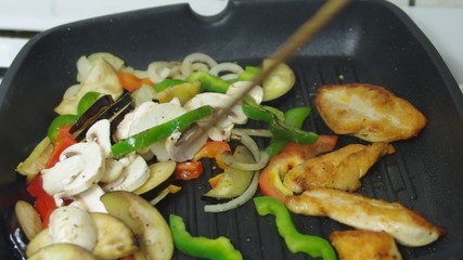 frying with meat vegetables