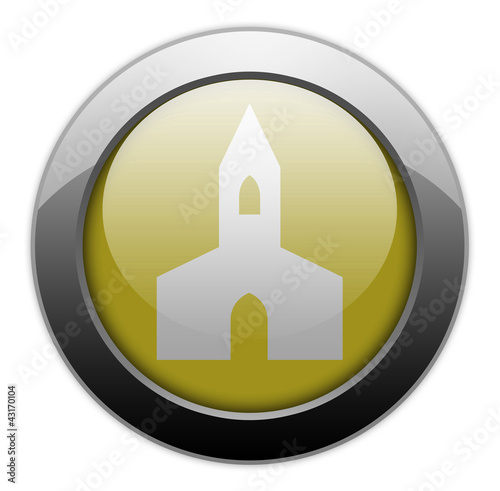 "Yellow Metallic Orb Button ""Chapel"""