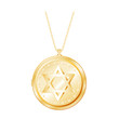 Vintage Star of David Engraved Gold Locket, chain necklace