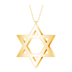 Gold Star of David Pendant, chain necklace, isolated on white
