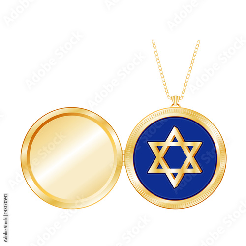 Star of David Engraved Gold Locket, copy space for picture, text
