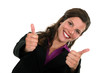 Double thumbs up from a smiling businesswoman