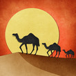 Camel and pyramid on desert Recycled Paper craft