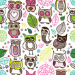 Seamless kids owl doodle pattern background in vector
