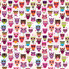 Seamless colourfull owl pattern for kids in vector