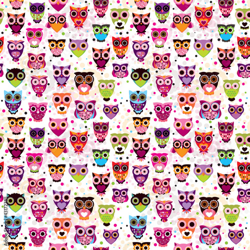 Sticker Seamless colourfull owl pattern for kids in vector