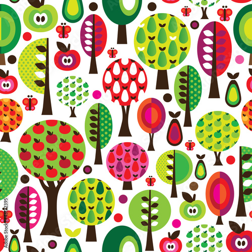 Wall mural Seamless retro flower apple pattern background in vector