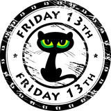 Stamp with black cat and the words Friday 13th inside, vector