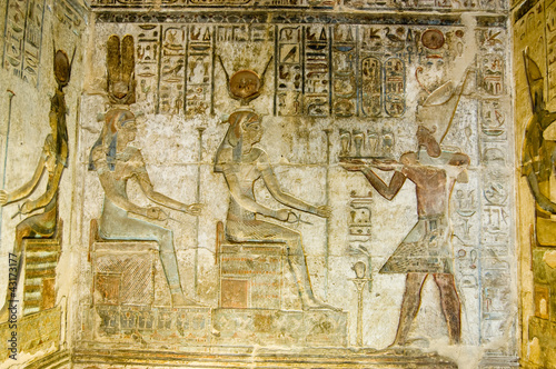 Ptolemy offering to Hathor and Maat