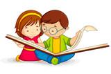 Fototapety vector illustration of kid reading open book sitting on floor