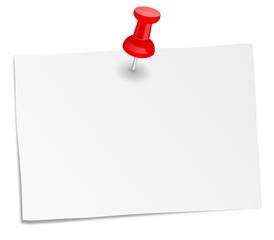 Weißer Notizzettel mit Pin