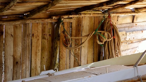 Balearic islands fisher boat wooden sunroof house