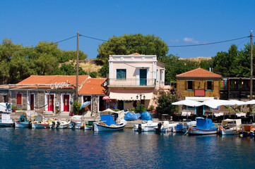 fishing harbor the town of molyvos, lesvos, greece