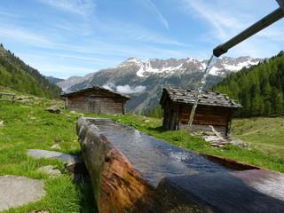 Holzbrunnen und Almhütten