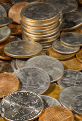 Pile of loose US coins in macro
