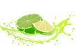 Lime slices with splash isolated on white