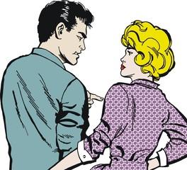 Ilustracion con una pareja de jovenes
