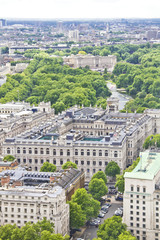 Aerial view of London with the Buckingham Palace