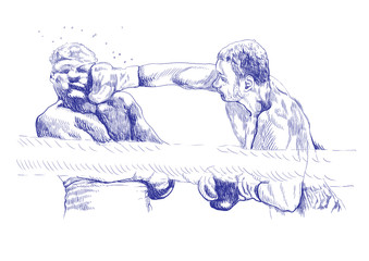 boxing match (this is original blue sketch, sharp outlines !)