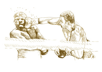 boxing match (this is original brown sketch, sharp outlines !)