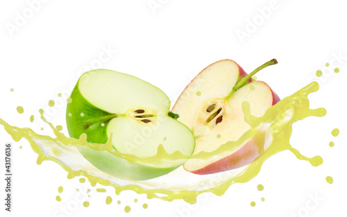 Apple slices with splash isolated on white