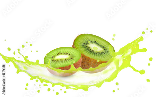 Kiwi slices with splash isolated on white