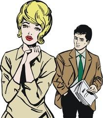 Ilustracion con una pareja en la oficina