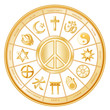 World Religions, International Peace Symbol, mandala, labels