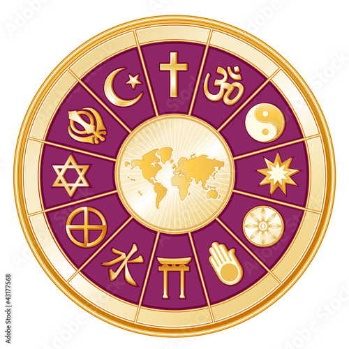International Religions, World Map, mandala