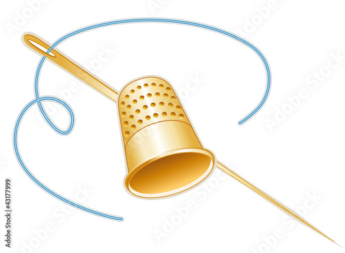 Gold thimble, needle, thread, sew, tailor, quilting, crafts, diy - 43177999