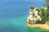 Kayaker Near Miners Castle at Pictured Rocks National Lakeshore poster