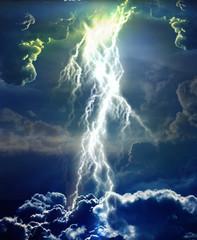 Lightning bolt in clouds