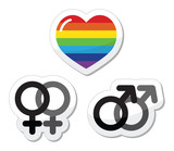 Gay couple, gay love icons set