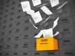 Hängeakten Schrank Schublade orange fliegende Papiere
