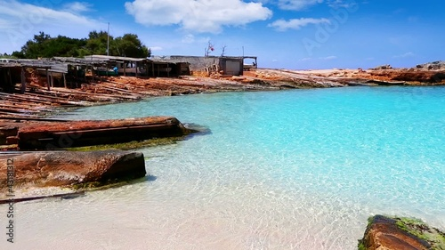 beautiful rocky escalo beach in balearic islands