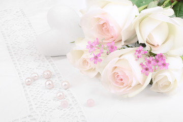 White roses with perls