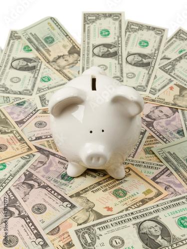 Piggy bank on dollar bills