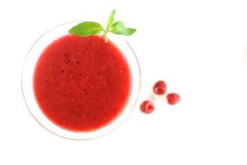 raspberry cocktail on white background